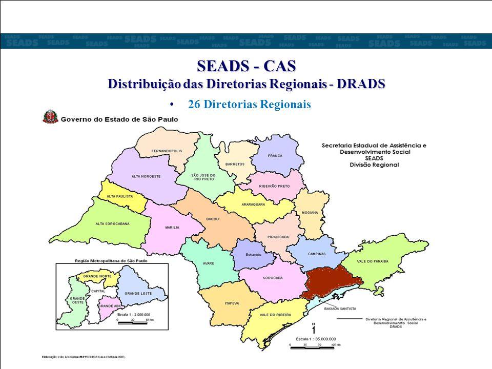 SEADS - CAS Distribuição das Diretorias Regionais - DRADS 26 Diretorias Regionais