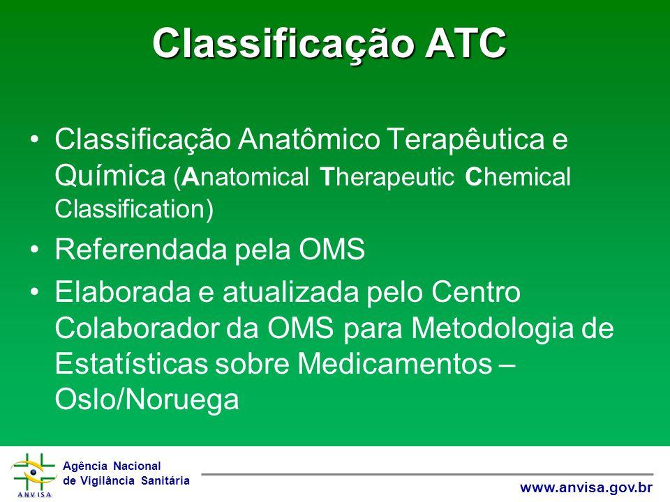 Agência Nacional de Vigilância Sanitária www.anvisa.gov.br Classificação ATC Classificação Anatômico Terapêutica e Química (Anatomical Therapeutic Che
