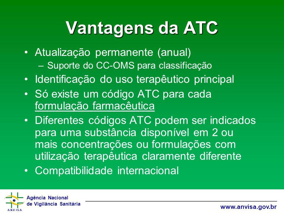Agência Nacional de Vigilância Sanitária www.anvisa.gov.br Vantagens da ATC Atualização permanente (anual) –Suporte do CC-OMS para classificação Ident