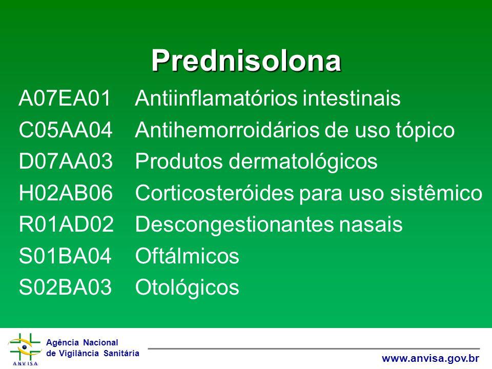 Agência Nacional de Vigilância Sanitária www.anvisa.gov.br Prednisolona A07EA01 Antiinflamatórios intestinais C05AA04 Antihemorroidários de uso tópico