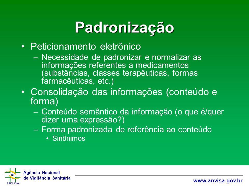Agência Nacional de Vigilância Sanitária www.anvisa.gov.br Padronização Peticionamento eletrônico –Necessidade de padronizar e normalizar as informaçõ