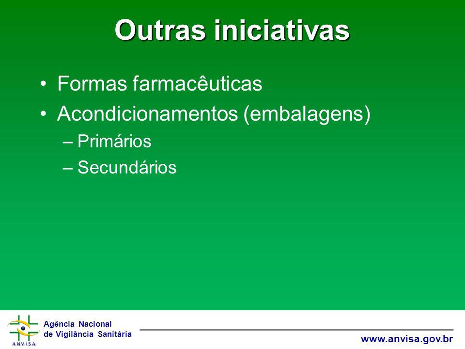 Agência Nacional de Vigilância Sanitária www.anvisa.gov.br Outras iniciativas Formas farmacêuticas Acondicionamentos (embalagens) –Primários –Secundár