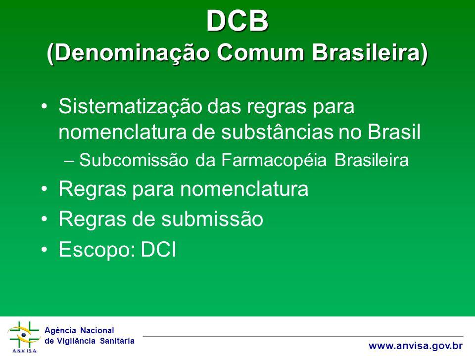 Agência Nacional de Vigilância Sanitária www.anvisa.gov.br DCB (Denominação Comum Brasileira) Sistematização das regras para nomenclatura de substânci