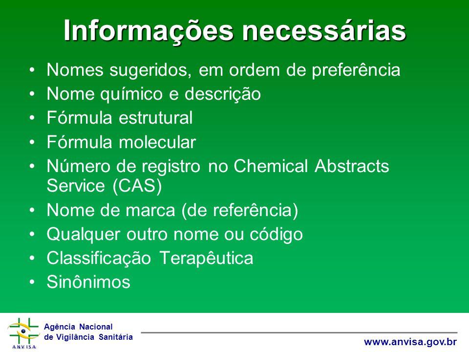 Agência Nacional de Vigilância Sanitária www.anvisa.gov.br Informações necessárias Nomes sugeridos, em ordem de preferência Nome químico e descrição F