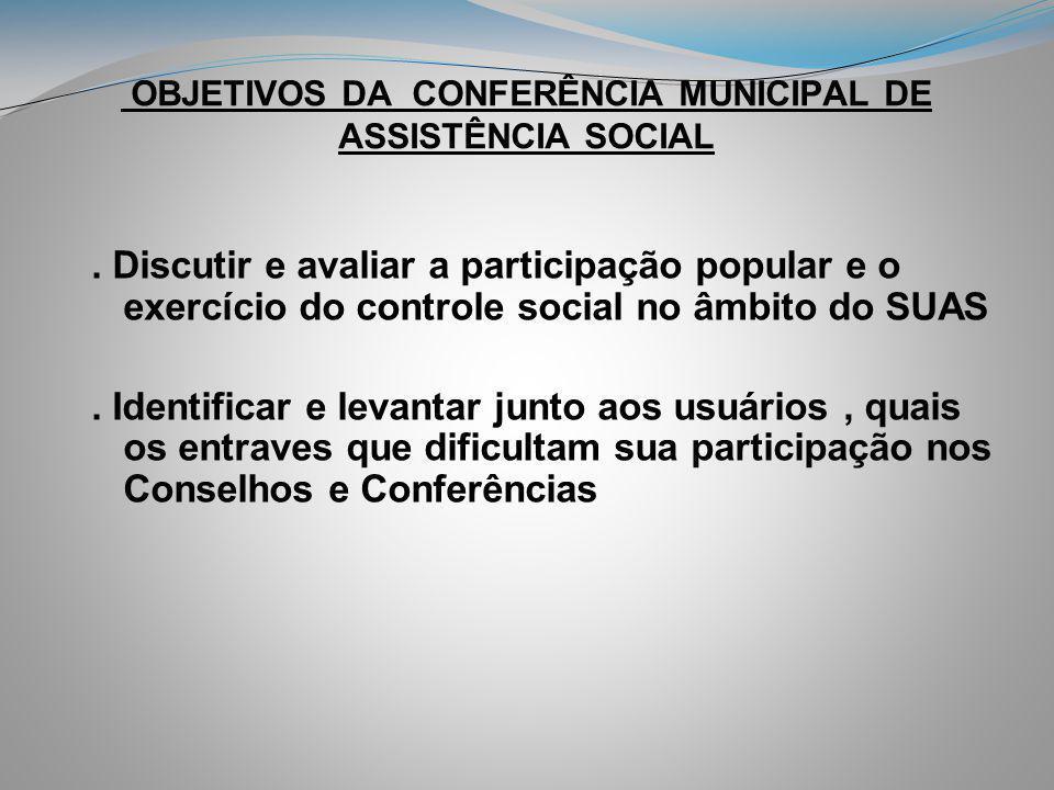 OBJETIVOS DA CONFERÊNCIA MUNICIPAL DE ASSISTÊNCIA SOCIAL. Discutir e avaliar a participação popular e o exercício do controle social no âmbito do SUAS