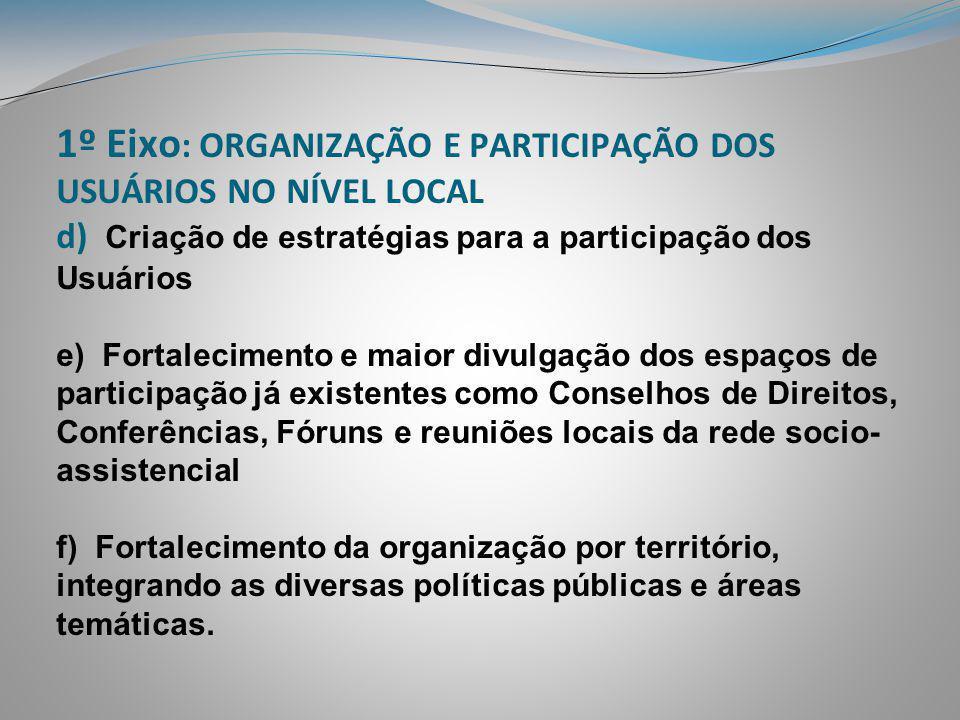 1º Eixo : ORGANIZAÇÃO E PARTICIPAÇÃO DOS USUÁRIOS NO NÍVEL LOCAL d) Criação de estratégias para a participação dos Usuários e) Fortalecimento e maior