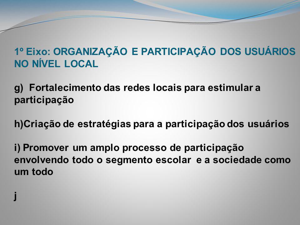 1º Eixo: ORGANIZAÇÃO E PARTICIPAÇÃO DOS USUÁRIOS NO NÍVEL LOCAL g) Fortalecimento das redes locais para estimular a participação h)Criação de estratég