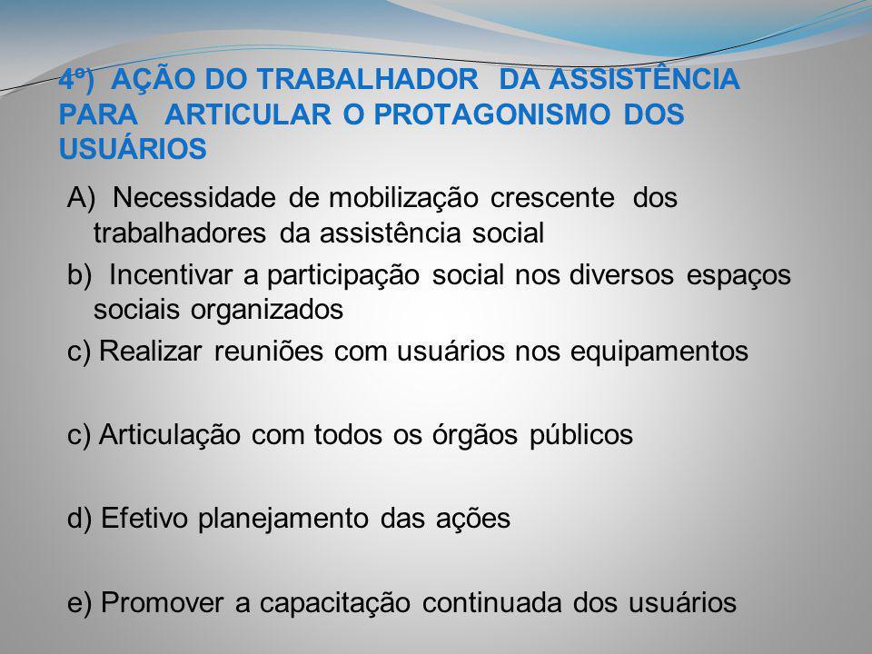 4º) AÇÃO DO TRABALHADOR DA ASSISTÊNCIA PARA ARTICULAR O PROTAGONISMO DOS USUÁRIOS A) Necessidade de mobilização crescente dos trabalhadores da assistê