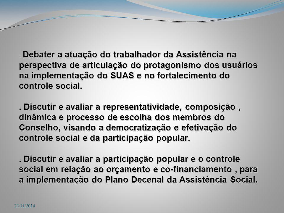 . Debater a atuação do trabalhador da Assistência na perspectiva de articulação do protagonismo dos usuários na implementação do SUAS e no fortalecime