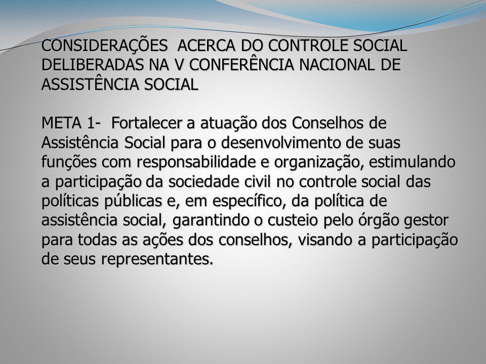 CONSIDERAÇÕES ACERCA DO CONTROLE SOCIAL DELIBERADAS NA V CONFERÊNCIA NACIONAL DE ASSISTÊNCIA SOCIAL META 1- Fortalecer a atuação dos Conselhos de Assi