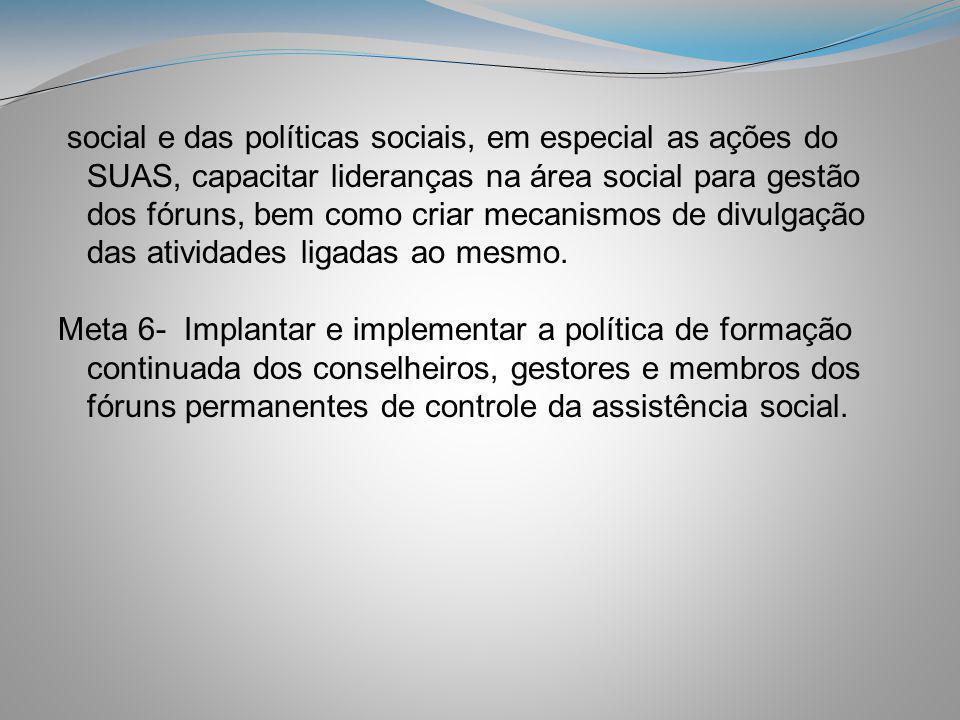 social e das políticas sociais, em especial as ações do SUAS, capacitar lideranças na área social para gestão dos fóruns, bem como criar mecanismos de