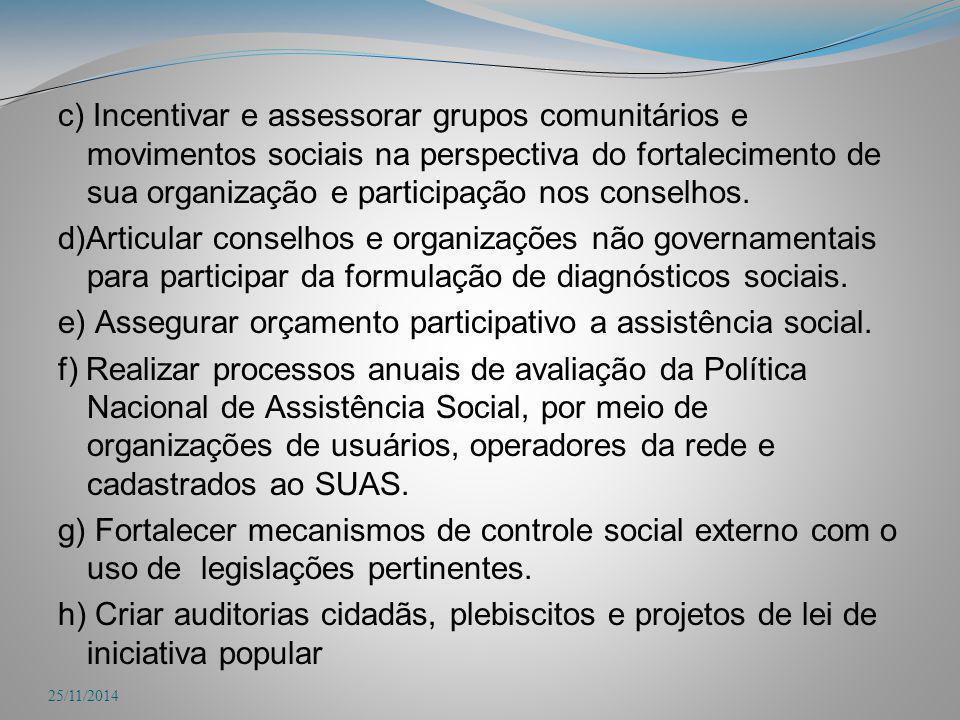 c) Incentivar e assessorar grupos comunitários e movimentos sociais na perspectiva do fortalecimento de sua organização e participação nos conselhos.