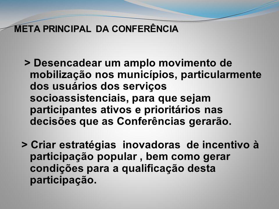 META PRINCIPAL DA CONFERÊNCIA > Desencadear um amplo movimento de mobilização nos municípios, particularmente dos usuários dos serviços socioassistenc