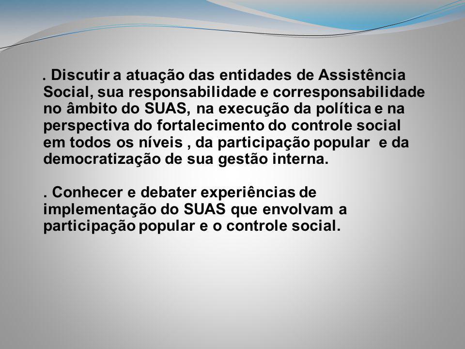 . Discutir a atuação das entidades de Assistência Social, sua responsabilidade e corresponsabilidade no âmbito do SUAS, na execução da política e na p