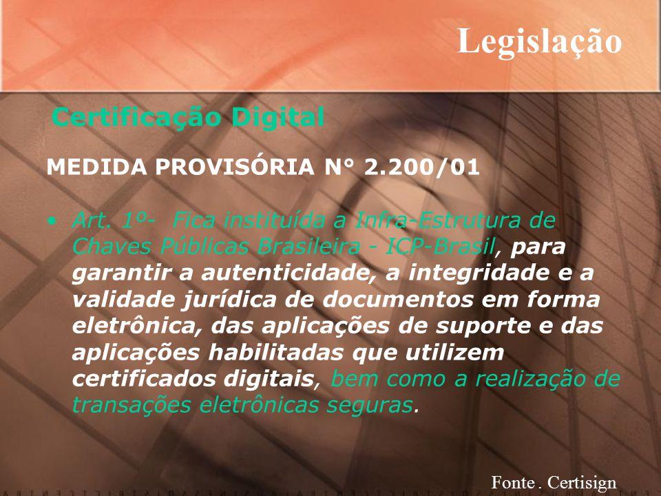 Legislação Certificação Digital MEDIDA PROVISÓRIA N° 2.200/01 Art.