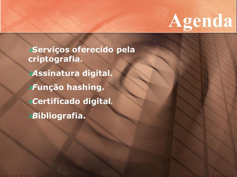 Agenda  Serviços oferecido pela criptografia.  Assinatura digital.
