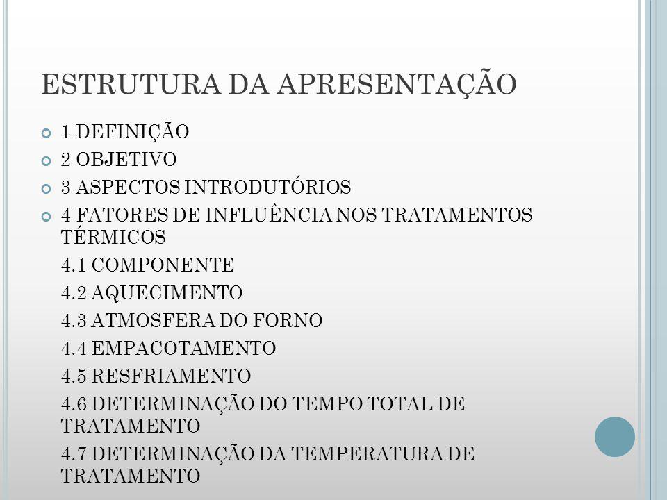 ESTRUTURA DA APRESENTAÇÃO 1 DEFINIÇÃO 2 OBJETIVO 3 ASPECTOS INTRODUTÓRIOS 4 FATORES DE INFLUÊNCIA NOS TRATAMENTOS TÉRMICOS 4.1 COMPONENTE 4.2 AQUECIMENTO 4.3 ATMOSFERA DO FORNO 4.4 EMPACOTAMENTO 4.5 RESFRIAMENTO 4.6 DETERMINAÇÃO DO TEMPO TOTAL DE TRATAMENTO 4.7 DETERMINAÇÃO DA TEMPERATURA DE TRATAMENTO