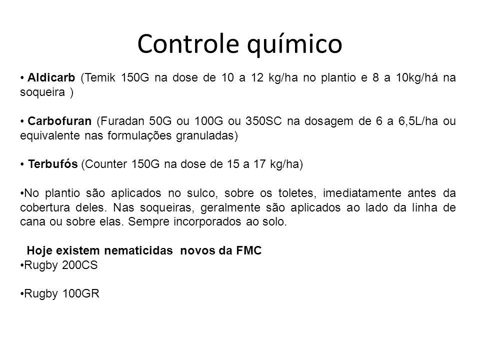 Controle químico Aldicarb (Temik 150G na dose de 10 a 12 kg/ha no plantio e 8 a 10kg/há na soqueira ) Carbofuran (Furadan 50G ou 100G ou 350SC na dosa
