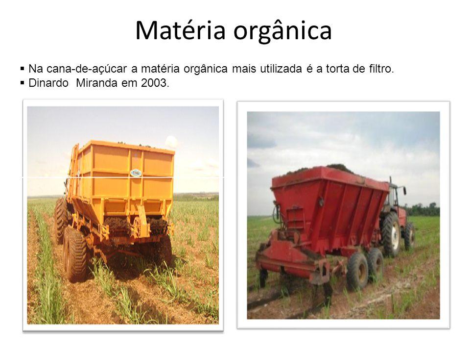Matéria orgânica  Na cana-de-açúcar a matéria orgânica mais utilizada é a torta de filtro.  Dinardo Miranda em 2003.