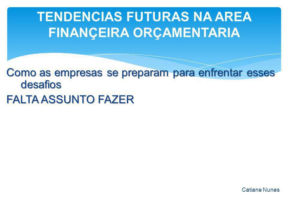 Como as empresas se preparam para enfrentar esses desafios FALTA ASSUNTO FAZER Catiane Nunes TENDENCIAS FUTURAS NA AREA FINANÇEIRA ORÇAMENTARIA