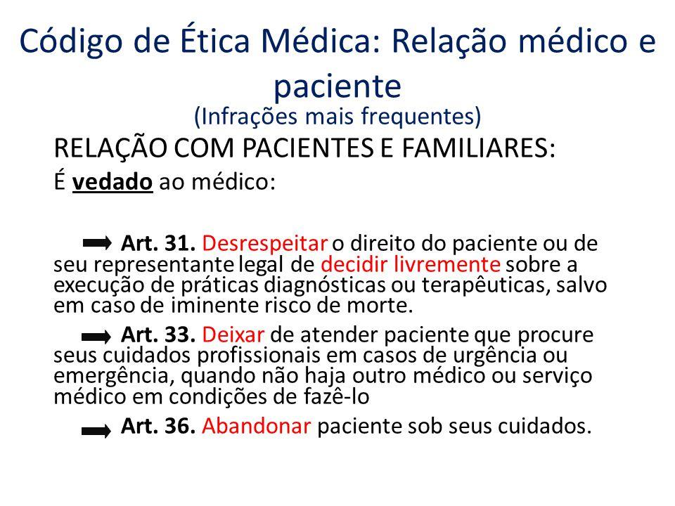 RELAÇÃO COM PACIENTES E FAMILIARES: É vedado ao médico: Art.