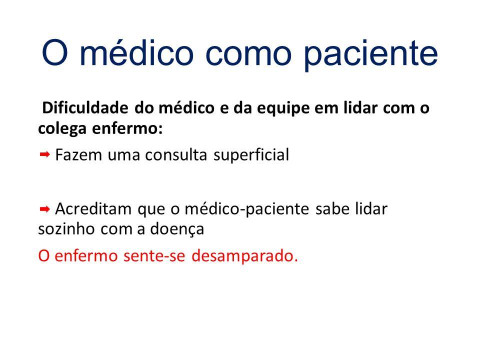 Dificuldade do médico e da equipe em lidar com o colega enfermo: Fazem uma consulta superficial Acreditam que o médico-paciente sabe lidar sozinho com