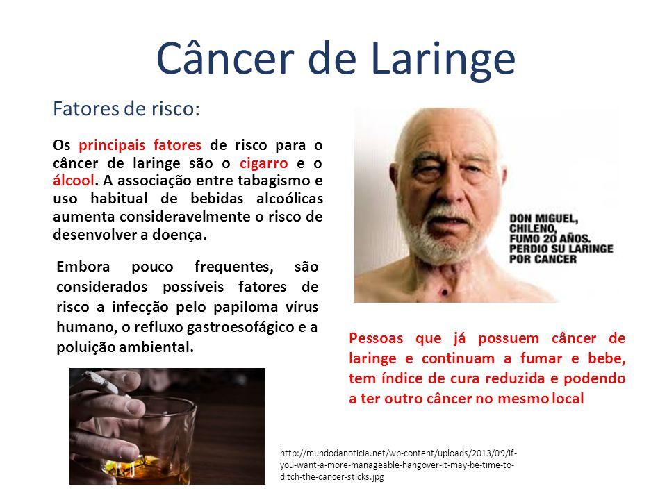 Os principais fatores de risco para o câncer de laringe são o cigarro e o álcool. A associação entre tabagismo e uso habitual de bebidas alcoólicas au