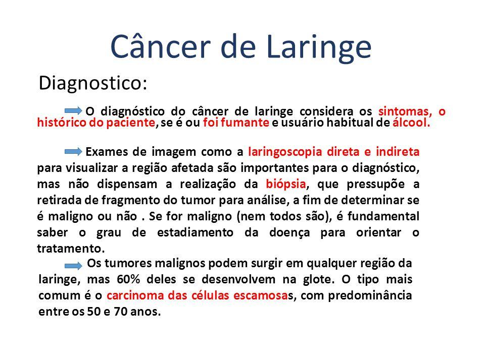 Diagnostico: O diagnóstico do câncer de laringe considera os sintomas, o histórico do paciente, se é ou foi fumante e usuário habitual de álcool. Cânc