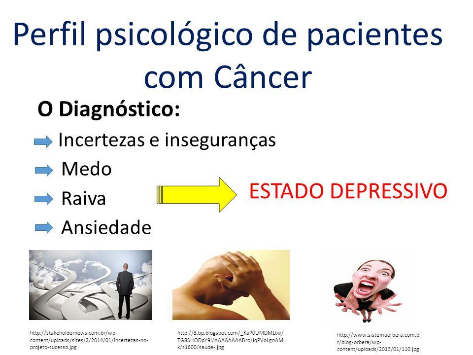 O Diagnóstico: Incertezas e inseguranças Medo Raiva Ansiedade ESTADO DEPRESSIVO Perfil psicológico de pacientes com Câncer http://stakeholdernews.com.br/wp- content/uploads/sites/2/2014/01/incertezas-no- projeto-sucesso.jpg http://3.bp.blogspot.com/_KaP0UMDMLtw/TG8 SHODpY9I/AAAAAAAABro/IqPVoLgnAMk/s1600/ saude-.jpg http://www.sistemaorbera.com.b r/blog-orbera/wp- content/uploads/2013/01/110.jpg