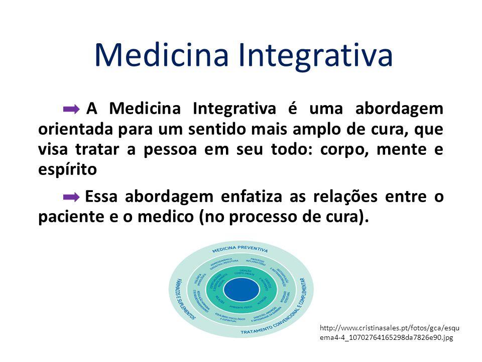 A Medicina Integrativa é uma abordagem orientada para um sentido mais amplo de cura, que visa tratar a pessoa em seu todo: corpo, mente e espírito Essa abordagem enfatiza as relações entre o paciente e o medico (no processo de cura).