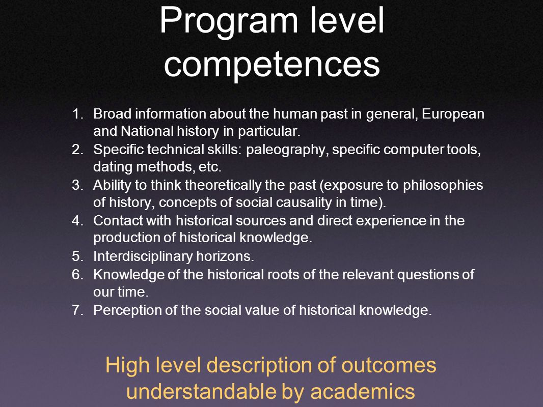 Program level competences 1.