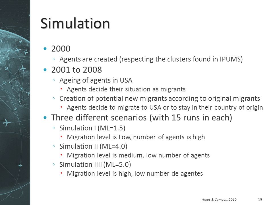 Anjos & Campos, 2010 Simulation 2000 Agents are created (respecting the clusters found in IPUMS) 2001 to 2008 Ageing of agents in USA Agents decide their situation as migrants Creation of potential new migrants according to original migrants Agents decide to migrate to USA or to stay in their country of origin Three different scenarios (with 15 runs in each) Simulation I (ML=1.5) Migration level is Low, number of agents is high Simulation II (ML=4.0) Migration level is medium, low number of agents Simulation IIII (ML=5.0) Migration level is high, low number de agentes 18