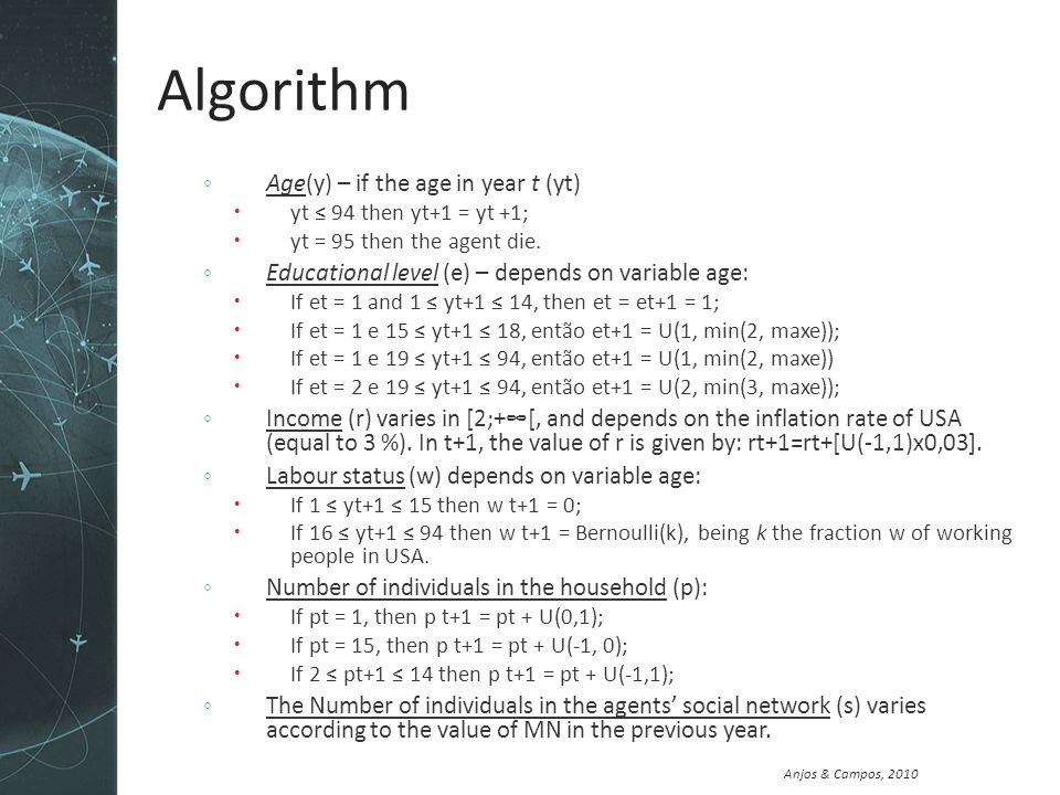 Anjos & Campos, 2010 Algorithm Age(y) – if the age in year t (yt) yt 94 then yt+1 = yt +1; yt = 95 then the agent die.