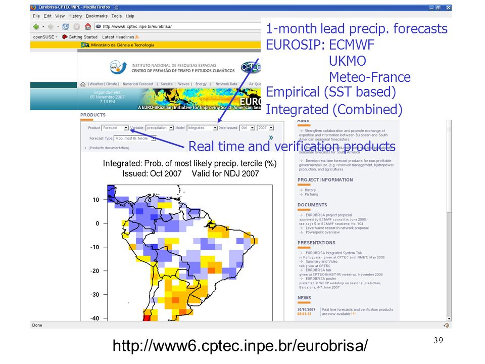 39 http://www6.cptec.inpe.br/eurobrisa/ Real time and verification products 1-month lead precip.