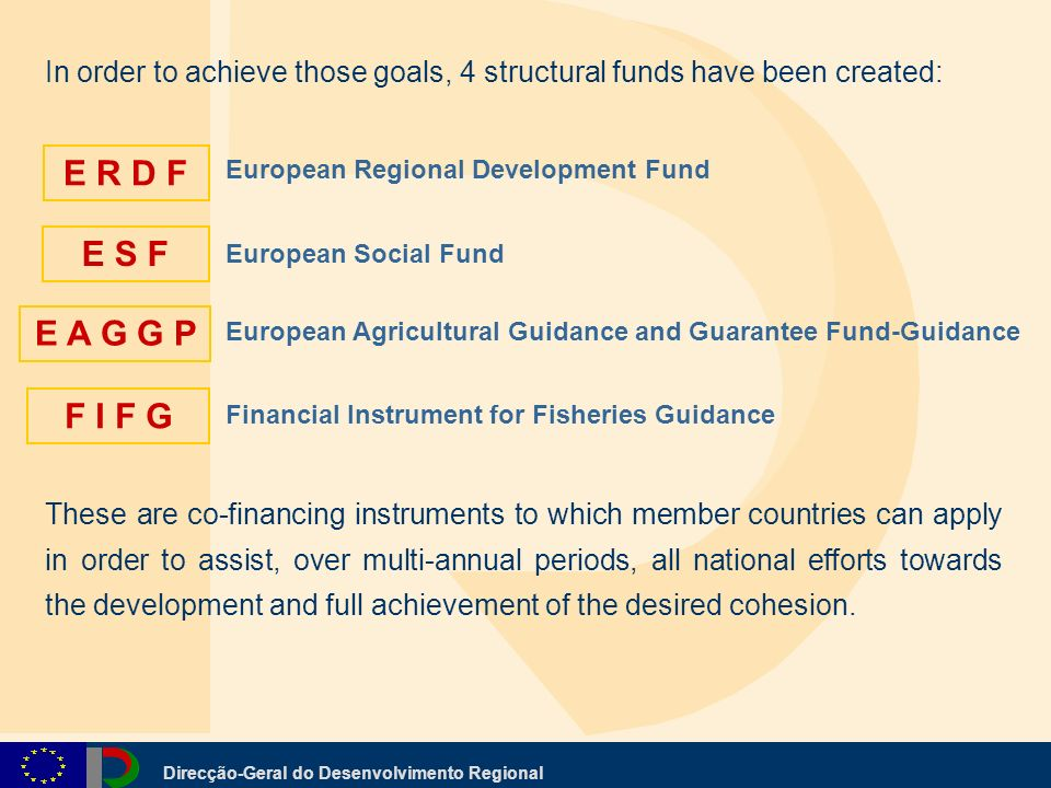 Direcção-Geral do Desenvolvimento Regional European Regional Development Fund European Social Fund European Agricultural Guidance and Guarantee Fund-Guidance Financial Instrument for Fisheries Guidance In order to achieve those goals, 4 structural funds have been created: E R D F E S F E A G G P F I F G These are co-financing instruments to which member countries can apply in order to assist, over multi-annual periods, all national efforts towards the development and full achievement of the desired cohesion.