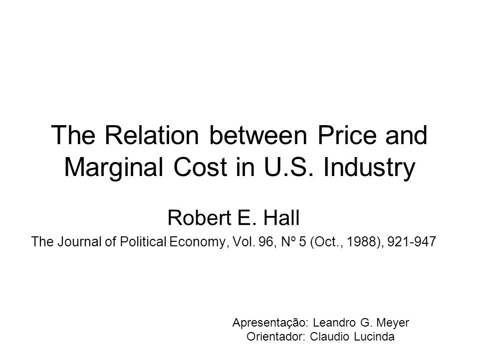 The Relation between Price and Marginal Cost in U.S.