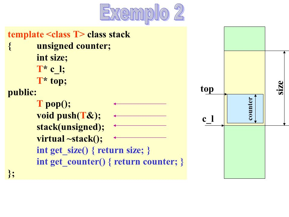 size c_l template class stack {unsigned counter; int size; T* c_l; T* top; public: T pop(); void push(T&); stack(unsigned); virtual ~stack(); int get_size() { return size; } int get_counter() { return counter; } }; top counter