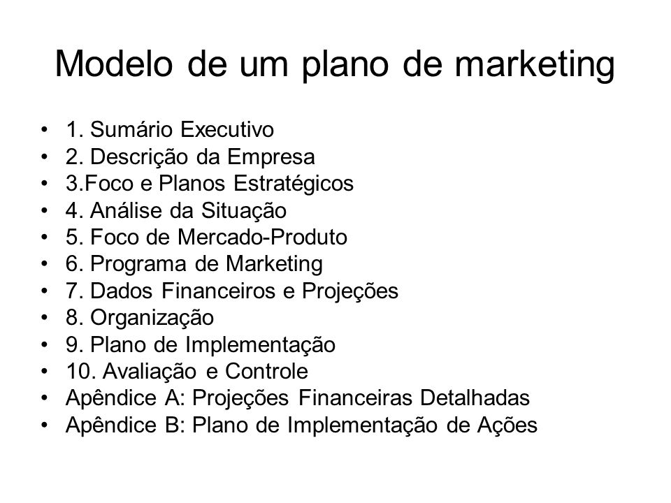 Modelo de um plano de marketing 1. Sumário Executivo 2.