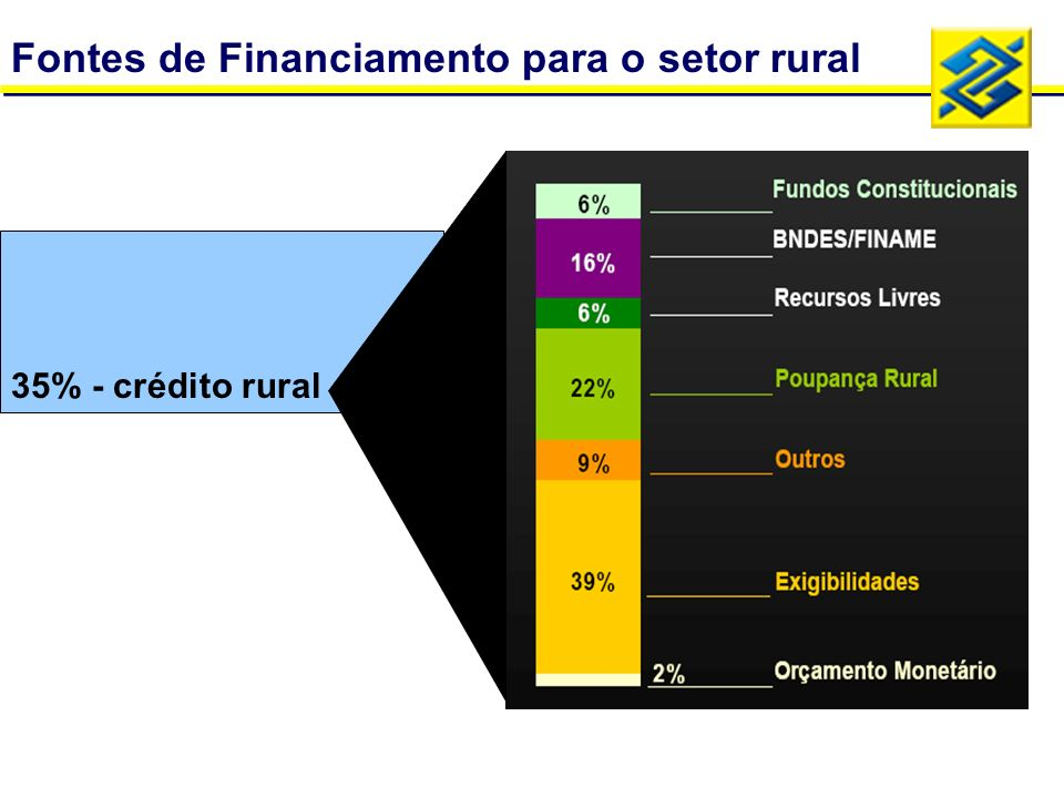 Fontes de Financiamento para o setor rural 35% - crédito rural