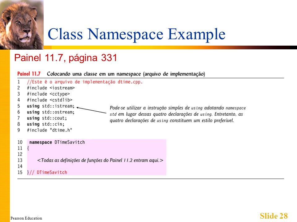 Pearson Education Slide 28 Class Namespace Example Painel 11.7, página 331