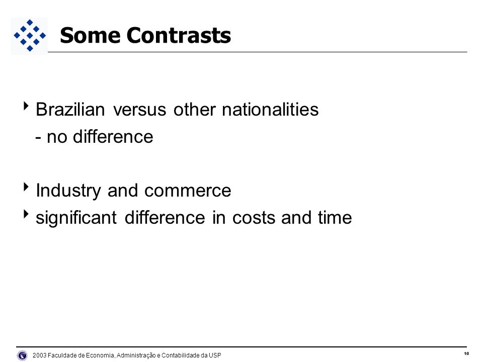 Faculdade de Economia, Administração e Contabilidade da USP Some Contrasts Brazilian versus other nationalities - no difference Industry and commerce significant difference in costs and time