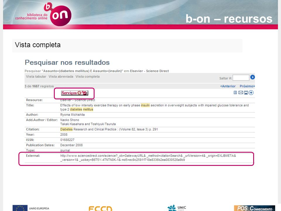 Vista completa b-on – recursos