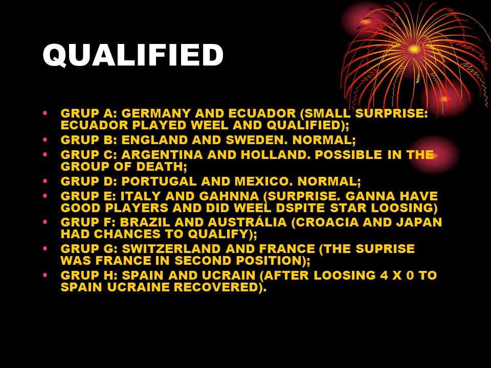 QUALIFIED GRUP A: GERMANY AND ECUADOR (SMALL SURPRISE: ECUADOR PLAYED WEEL AND QUALIFIED); GRUP B: ENGLAND AND SWEDEN.