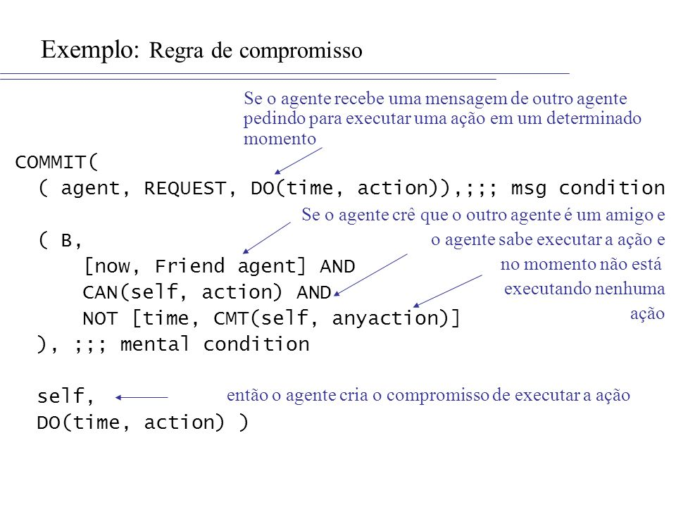 Exemplo: Regra de compromisso COMMIT( ( agent, REQUEST, DO(time, action)),;;; msg condition ( B, [now, Friend agent] AND CAN(self, action) AND NOT [time, CMT(self, anyaction)] ), ;;; mental condition self, DO(time, action) ) Se o agente recebe uma mensagem de outro agente pedindo para executar uma ação em um determinado momento Se o agente crê que o outro agente é um amigo e o agente sabe executar a ação e no momento não está executando nenhuma ação então o agente cria o compromisso de executar a ação