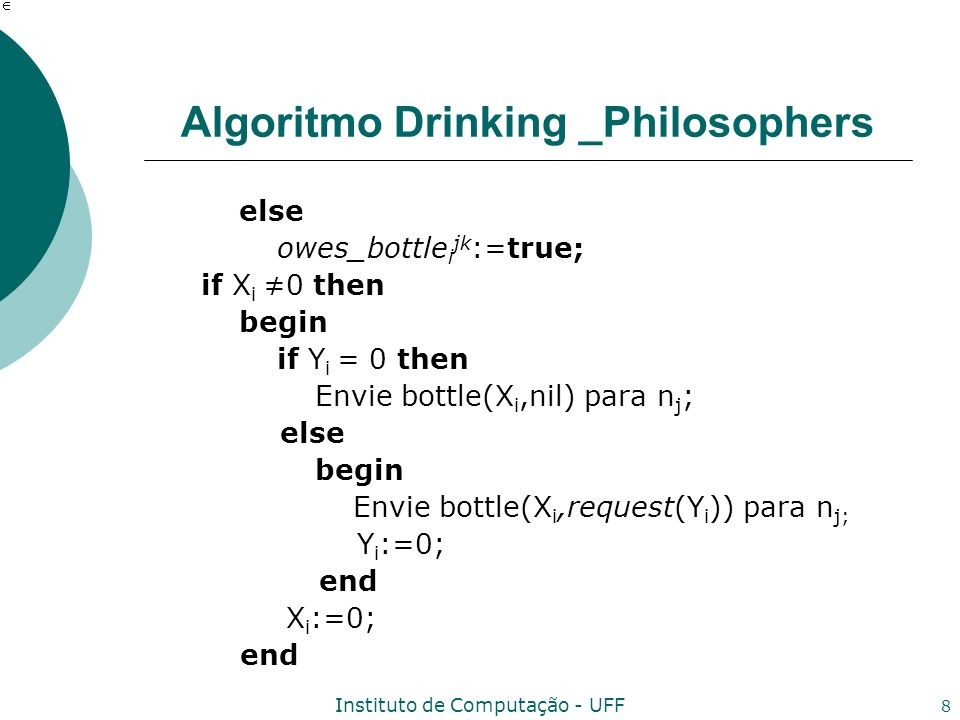 Instituto de Computação - UFF 8 Algoritmo Drinking _Philosophers else owes_bottle i jk :=true; if X i 0 then begin if Y i = 0 then Envie bottle(X i,nil) para n j ; else begin Envie bottle(X i,request(Y i )) para n j; Y i :=0; end X i :=0; end