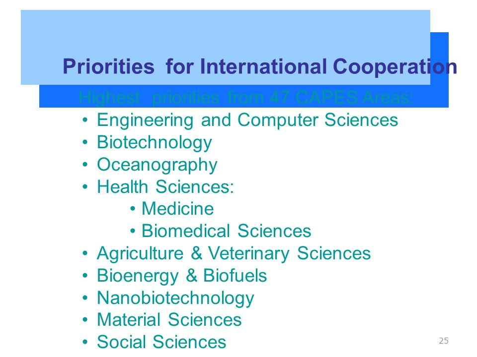 25 Priorities for International Cooperation Highest priorities from 47 CAPES Areas: Engineering and Computer Sciences Biotechnology Oceanography Health Sciences: Medicine Biomedical Sciences Agriculture & Veterinary Sciences Bioenergy & Biofuels Nanobiotechnology Material Sciences Social Sciences