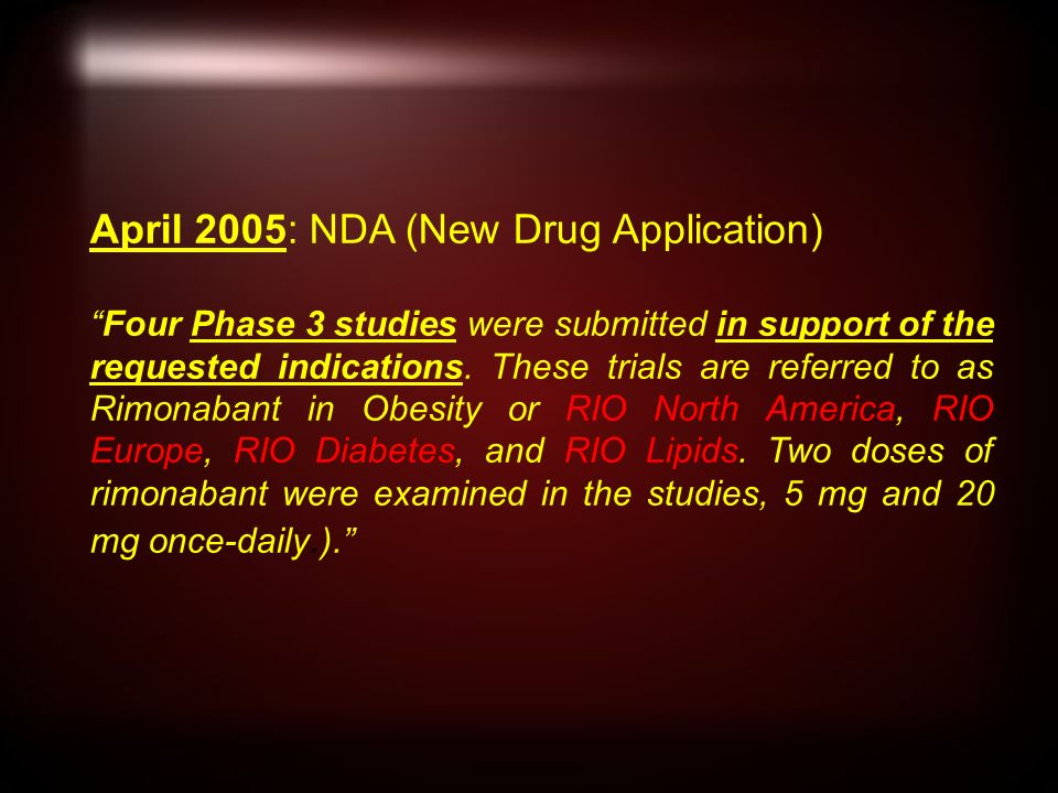 April 2005: NDA (New Drug Application) Four Phase 3 studies were submitted in support of the requested indications.