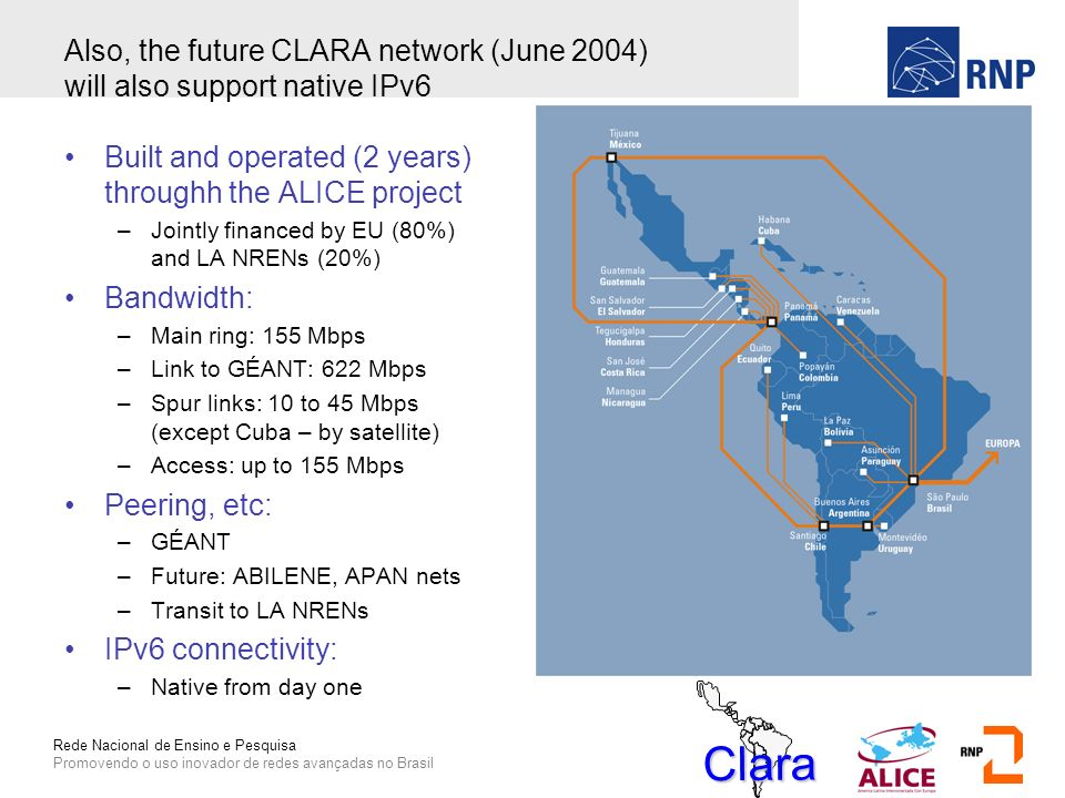 Rede Nacional de Ensino e Pesquisa Promovendo o uso inovador de redes avançadas no Brasil Also, the future CLARA network (June 2004) will also support native IPv6 Built and operated (2 years) throughh the ALICE project –Jointly financed by EU (80%) and LA NRENs (20%) Bandwidth: –Main ring: 155 Mbps –Link to GÉANT: 622 Mbps –Spur links: 10 to 45 Mbps (except Cuba – by satellite) –Access: up to 155 Mbps Peering, etc: –GÉANT –Future: ABILENE, APAN nets –Transit to LA NRENs IPv6 connectivity: –Native from day one Clara