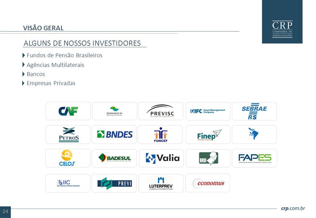24 ALGUNS DE NOSSOS INVESTIDORES Fundos de Pensão Brasileiros Agências  Multilaterais Bancos Empresas Privadas VISÃO GERAL 24 abf9066a200b7