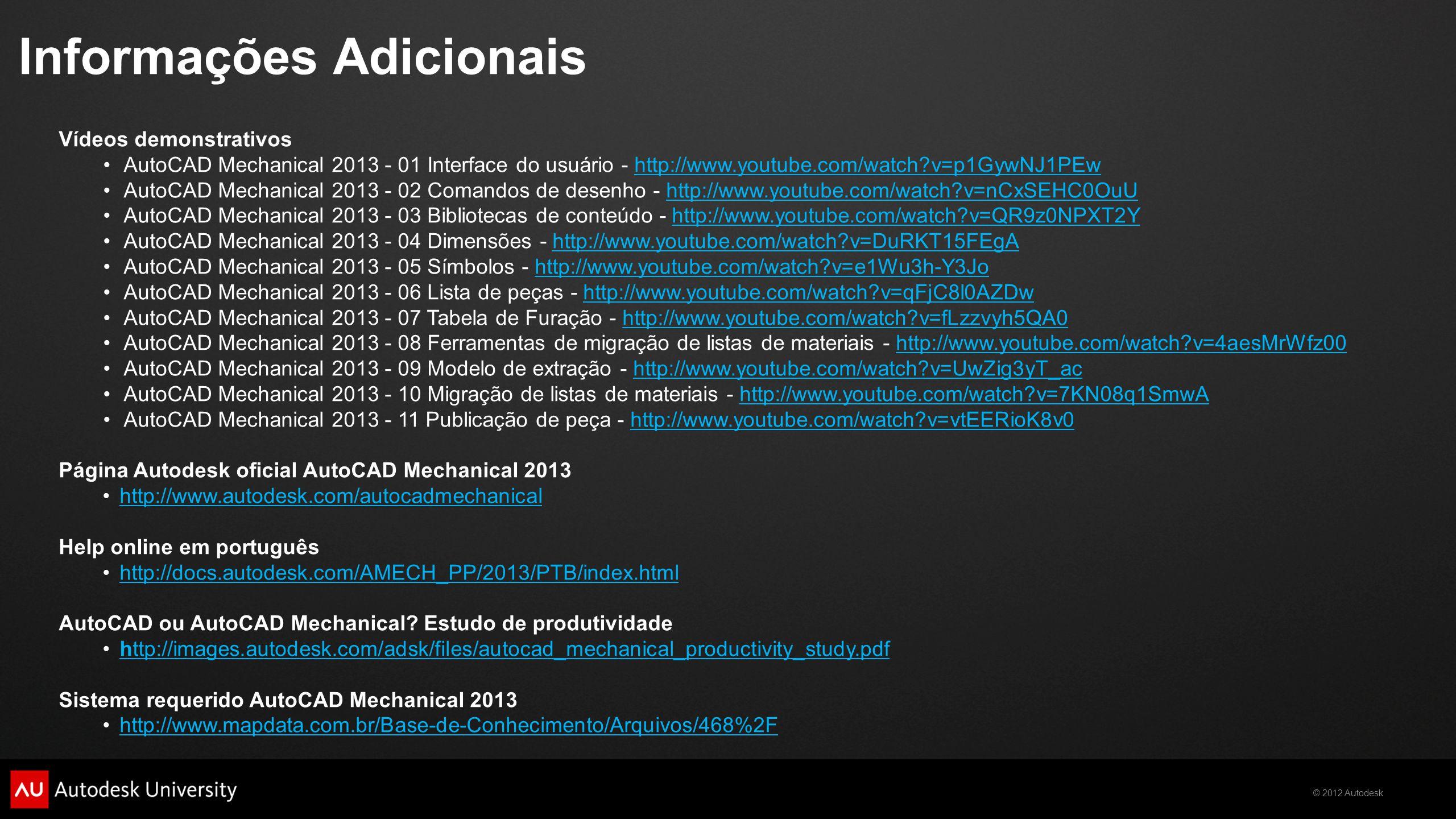 2012 Autodesk AutoCAD Mechanical Produtividade em projetos
